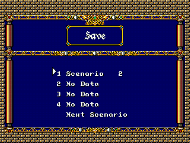 Langrisser II (english translation) - Menus Save -  - User Screenshot